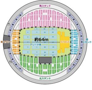 真駒内セキスイハイムアリーナ ステージから東スタンド1階席後方の距離
