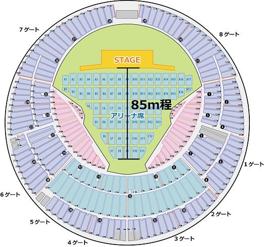 横浜スタジアム ステージからアリーナ後方席 距離