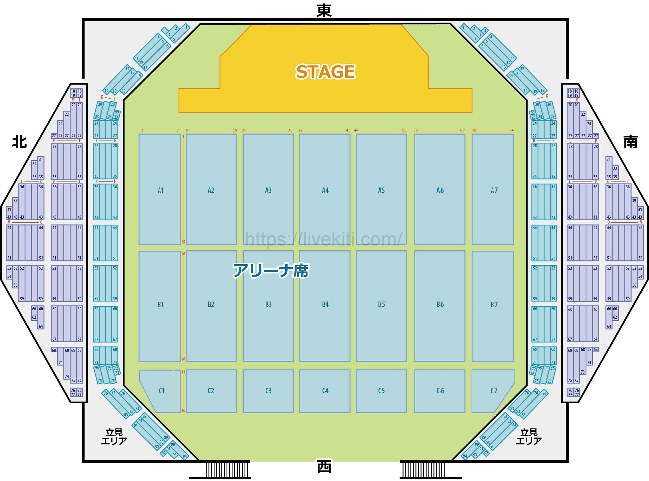 沖縄コンベンションセンター座席表可動席無しタイプ