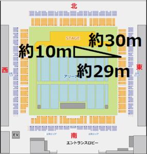 福岡国際センター2階東スタンド席最前列距離