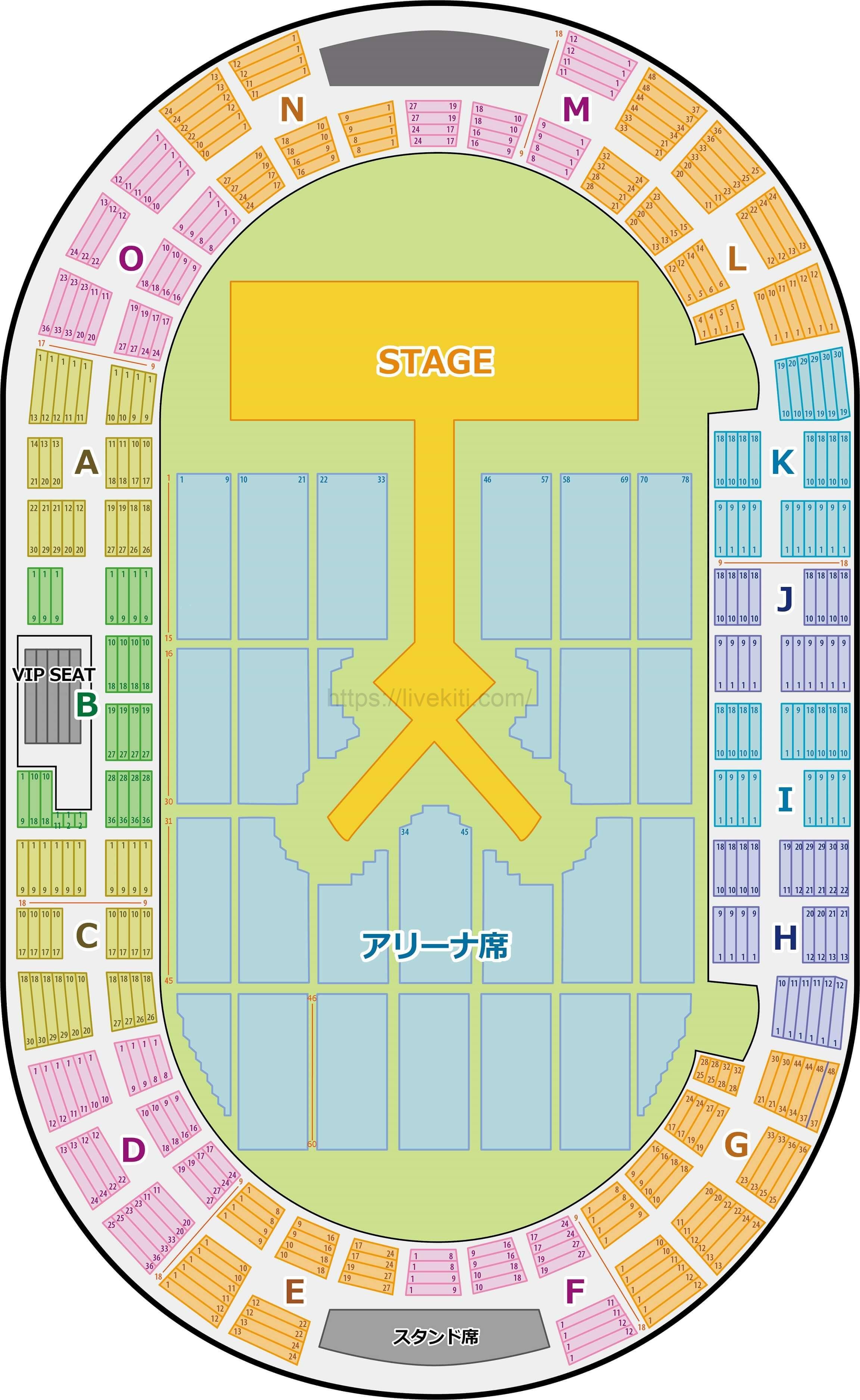 神戸ワールド記念ホール 座席表花道あり