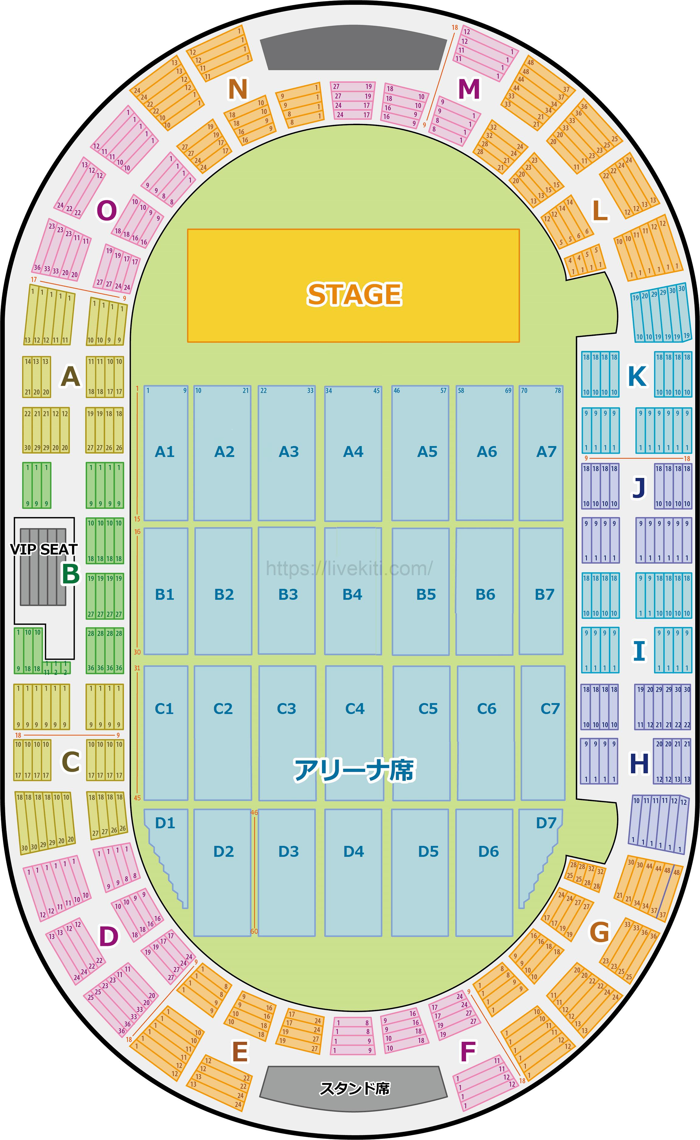 神戸ワールド記念ホール アリーナ 座席表