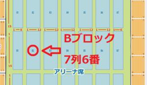 三重県営サンアリーナ アリーナ席 Bブロック 7列 6番